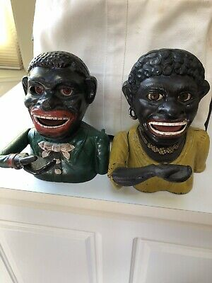 Jolly Boy And Girl(Dinah) Cast Iron Mechanical Banks Used