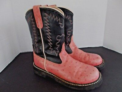 871f87d86d6 OLD WEST BLACK Youth Boys Corona Leather Broad Square Toe Cowboy ...