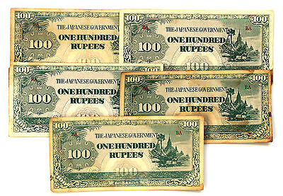 10 Burma 1940's WW2 paper money 100 Rupees Japanese invasion circulated