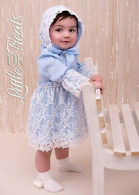 New Baby Girls Spanish Dress And Bonnet Set Occasion Size 9-12 Months Romany