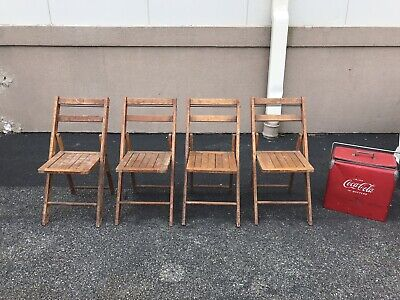 Vintage Wood Slat Chairs Fantastic Look