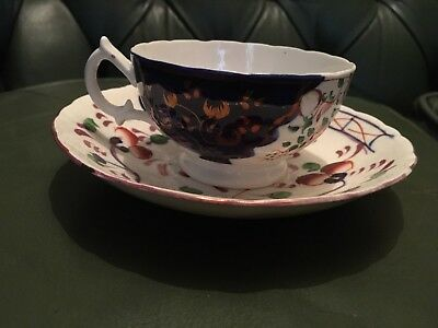 Antique 19th. Century Gaudy Welsh Cup And Saucer