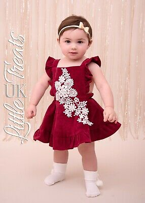 New Baby Girls Spanish Dress Red Claret Chord Occasion Size 6-9 Months Romany