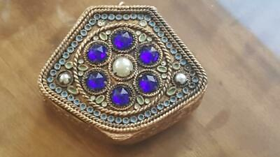 Antique Little French Jeweled & Enamel Compact