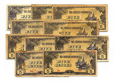 10 Five Rupees Burma WW2 1940's Japanese invasion paper money circulated