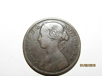 1863 UK (British) Victoria Coin - One Penny (1d) - nice coin