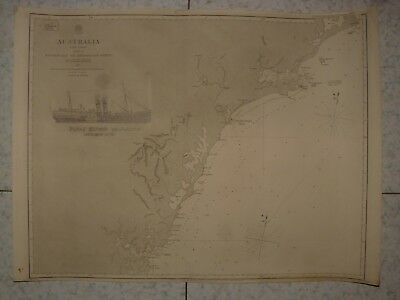1851 Admiralty Chart Australia Broken Bay To Sugarloaf Paddle Steamer Newcastle