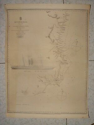 1851 Admiralty Chart Australia Cape Howe To Barriga Point Steamship Ly Ee Moon