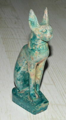 Egypt Ancient Very Old Green Soap Stone Cat Bastet Sphynx Figurine 18 Cm
