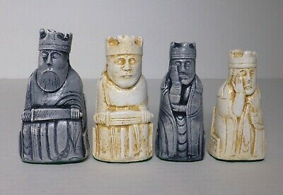 """ISLE OF LEWIS CHESS MEN - HAND CAST COLLECTORS' SET - K= 3.5"""" (gray) 861 new"""