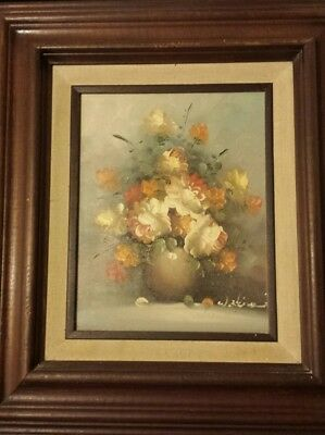 Vtg Original Oil Painting Signed Artist W Kline Still Life Flowers Framed 8x10