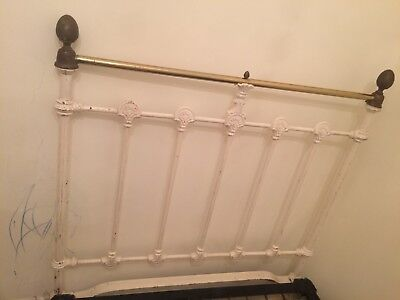 Original Victorian Antique Bedstead Solid Wrought Iron With Solid Brass Knobs