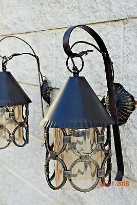 GOTHIC  FRENCH  WALL LANTERNS TOLEWARE c1940