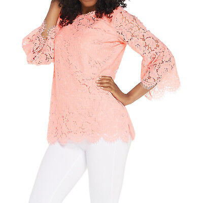265552d864b ISAAC MIZRAHI LIVE! Size L Floral Lace / Bell -Sleeve Tunic ROSE BLUSH
