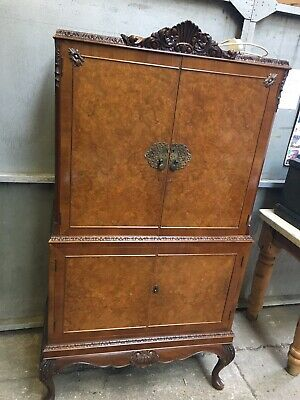Vintage 1920s Maple & Co Bur Walnut Cocktail Cabinate In Queen Ann Style