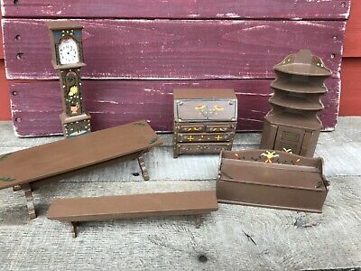 Vintage Doll House Minitures Library Study Wooden Furniture Lot