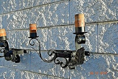 Antique French  Large Gothic Wall Lamps Tole Ware & Cast Iron