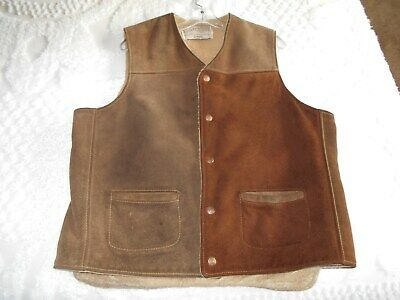 Vintage Rancher By Schott NYC Western Leather Cowboy Suede Vest Shearling Men XL