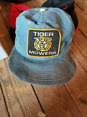 58a3c514274 Vintage TIGER MOWERS denim Snapback Trucker Hat Cap Patch K Brand Made In  USA