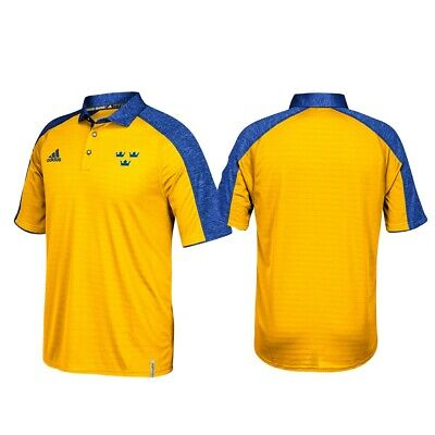 320226d22 Sweden NHL Adidas Gold ClimaLite World Cup of Hockey 2016 Coaches Polo Shirt
