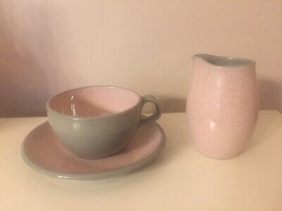 Vintage Harkerware Pink And Gray Cup Saucer And Creamer Stone China Oven Proof