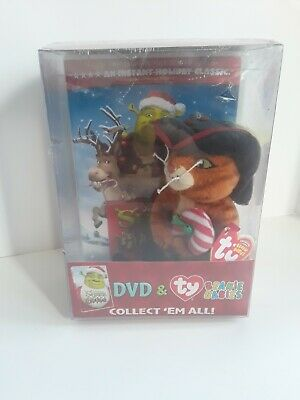 322c1e3bd14 Shrek the Halls Puss in Boots TY Beanie Baby and DVD Combo New FREE  SHIPPING!