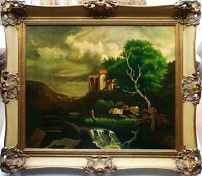 Indistinctly Signed 20Th C. Continental Style Classical Landscape Oil Painting.