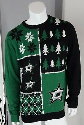 NHL Dallas Stars Hockey Men s Green Black Ugly Christmas Sweater - X Large a117085d0cc1