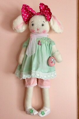 Primitive Bunny Rabbit Doll Spring Easter Shabby Chic Style Shelf Sitter