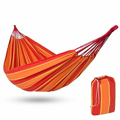 Portable & Comfy Cotton Brazilian Double Hammock Bed for 2 Person w/ Carry Bag
