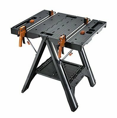 2 in 1 Multi Function Work Table & Sawhorse w/ 2 Quick Clamps & 300lb Capacity