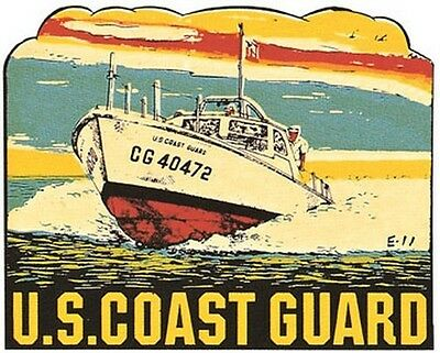 US Coast Guard   Vintage  1950's Style Travel Decal sticker USCG military