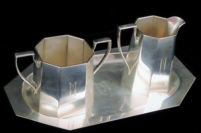 Antique Art Deco Redlich Sterling Silver Art Deco Coffee Creamer Sugar 8500 Set