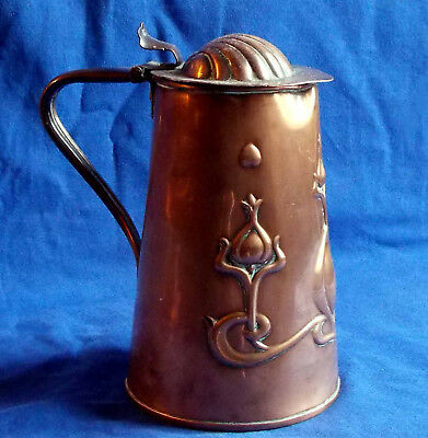 Rare early 20th century English Arts & Crafts JS & S 1904 lidded copper tankard