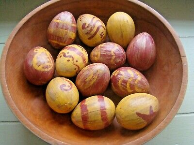 Primitive Colonial Redware Yellowware Paper Mache Easter or everyday eggs