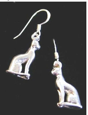 Ancient Egyptian Bast or Siamese Cat Dangle Earrings- Sterling Silver (.925)