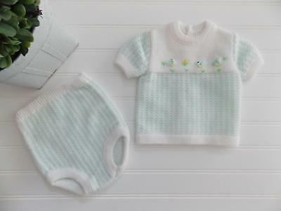 VTG RENZO Italy Baby Boy Girl Acrylic Knit Bird Outfit Sweater Diaper Cover 0-6M