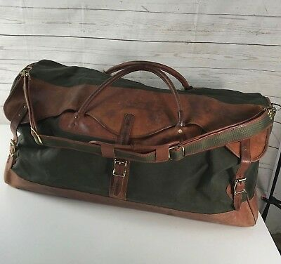 580e3367dd VINTAGE 1980 s LL BEAN BATTENKILL CANVAS   SADDLE LEATHER DUFFLE GYM BAG  R 898