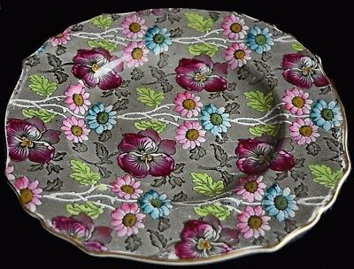Antique James Kent Fenton, England ~ Louis 14th Pattern ~ Chintz bread plate 9""
