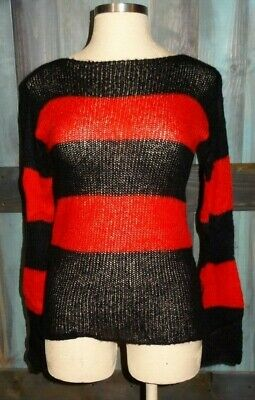 5a805d2b9b TRIPP NYC Black Red Striped Long Sleeve Knit Sweater Top Shirt XL Hot Topic