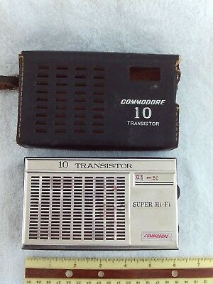 Vintage Commodore 10 Transistor Radio With Leather Case, Super Hi-Fi