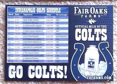 Rare Indianapolis Colts 2010 Schedule Magnet - Manning Last Season - Mint!
