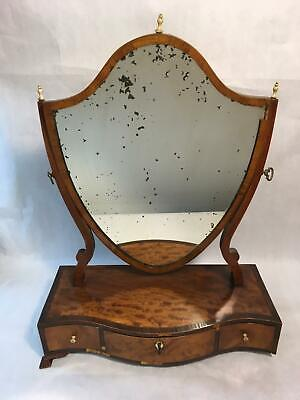 Antique Bowfront Dresser Top Make Up Shaving Mirror Vanity with 3 Drawers