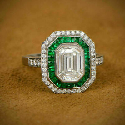 Vintage 3.30CT Emerald Art Deco Antique Victorian Diamond Retro Engagement Ring