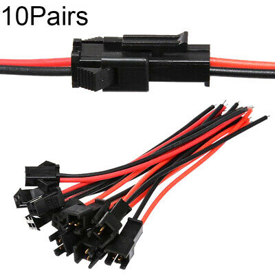10Pairs New 10cm For LED Strip 24AWG Wire Connector Jack SM 2Pin Male and Female