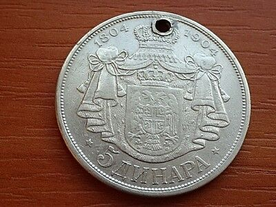 Authentic Serbia Silver 5 Dinara 1904 Peter I 1903-1918 AD Serbian Silver Coin