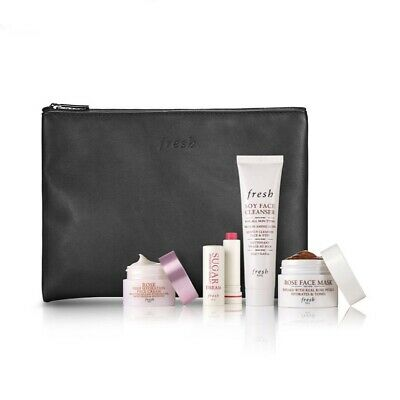 Fresh 5pc Beauty Bag Set~ Rose Face Mask, Face Cream, Sugar Dream, Soy Cleanser
