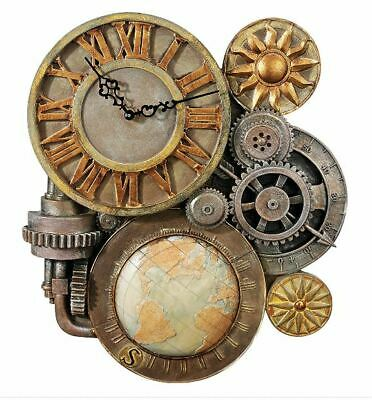 """Wall Clock Design Toscano Gears of Time Steampunk Sculpture 17"""" Works Great #158"""