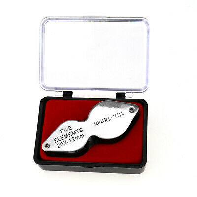 10x-20x Dual Lens Jewelers Watch Magnifier Eye Loupe Magnifying Glass Alloy