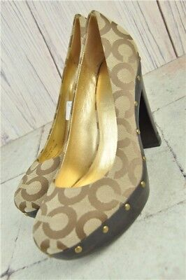 Coach Women's Carli Heels Shoes 'C' Pattern Brown UK Size 6 US 8 Evening Formal
